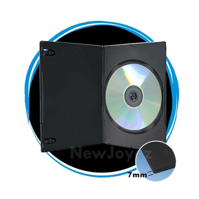100 Pack Black 7mm Slim Single CD DVD Movie Case Storage Box
