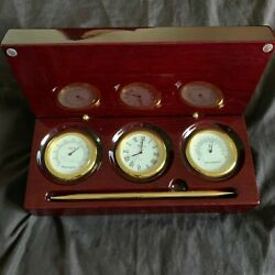 Bulova Weather Station w/ Clock, Thermometer, Hygrometer, and Pen- Mahogany Case
