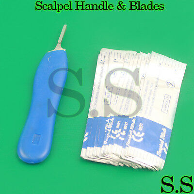 100 Scalpel Blades 15 With 3 Plastic Scalpel Handle Suitable For Dermaplaning