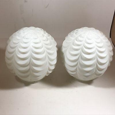 Pair of Vintage Art Deco Milk White Ceiling Lamp Shades