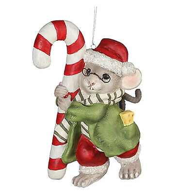 """5.25"""" Bethany Lowe Candy Cane Chester Mouse Retro Vntg Christmas Ornament Decor"""