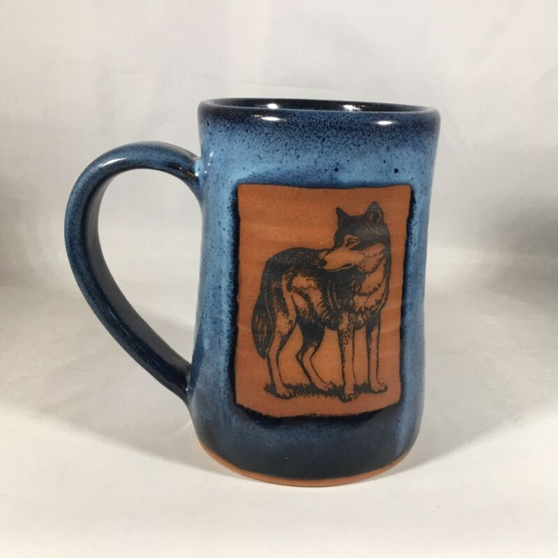 1 ALWAYS AZUL POTTERY Blue Glaze Mug with WOLF MOTIF Villa Grove CO