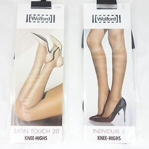 Wolford-Calze-al-ginocchio-Highs-Set-SINGOLI-5-Satin-Touch-20-NERO-S-NUOVO