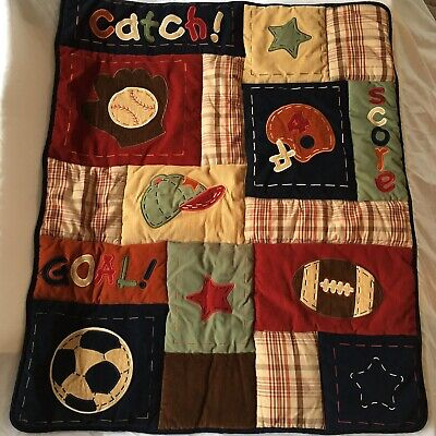NoJo MVP Corduroy Sports Baby Boy Reversible Comforter Crib Bedding Appliques Baby Boy Sports Bedding