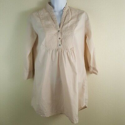 Zara Womens Boho Tunic Pullover Light Pink Cotton 3/4 Tab Sleev Size Small