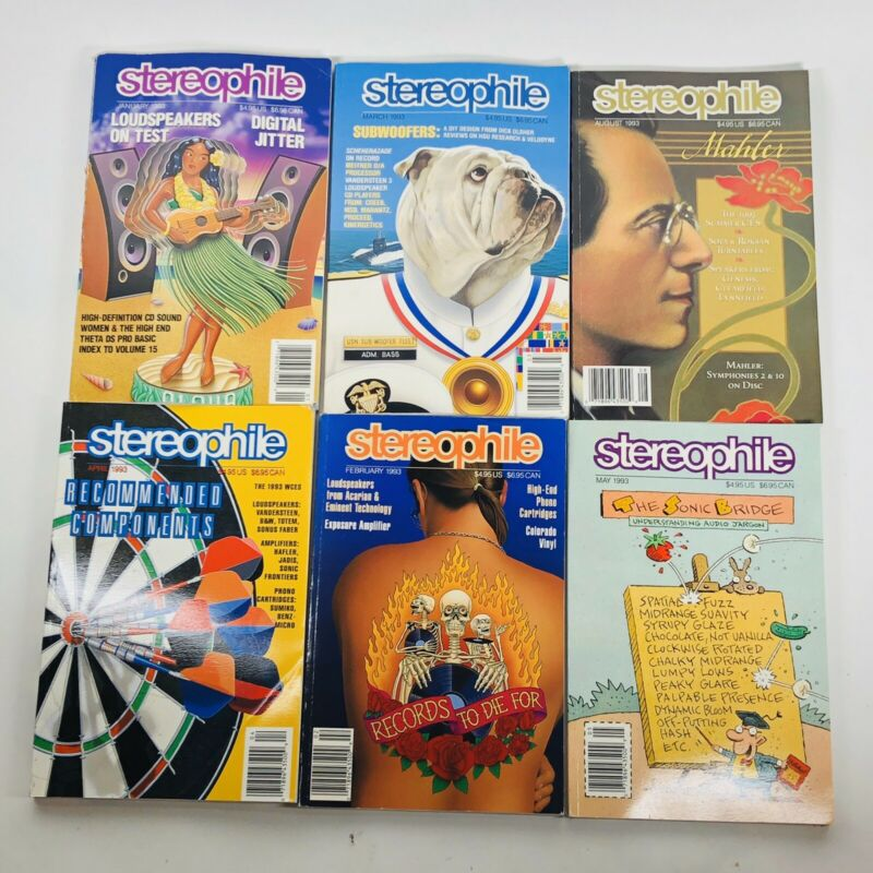Lot of 6 Stereophile Magazines 1993