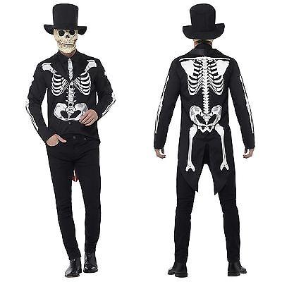 Herren Herr Knochen Skelett Anzug Tag der Toten Señor Mexikanisch (Herr Der Knochen Kostüm)