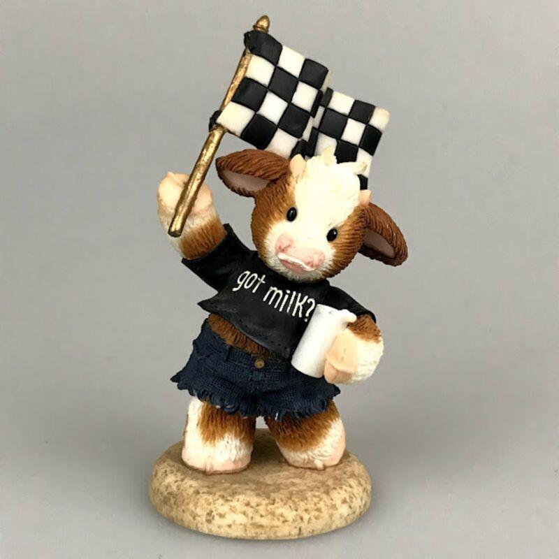 Cow Figurine Marys Moo Moos Car Racing Flag Lap It Up Got Milk Retired RARE
