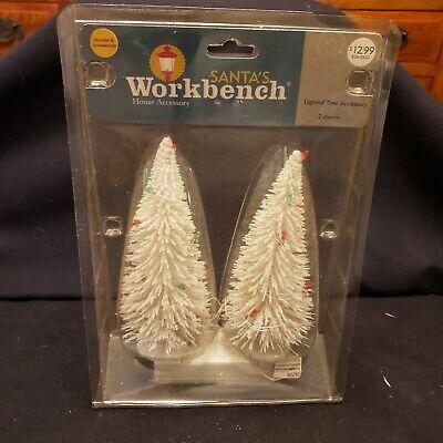 "2006 NEW Mini Bottle Brush Lighted Christmas Trees Snow Village/Train Set Up 6"""