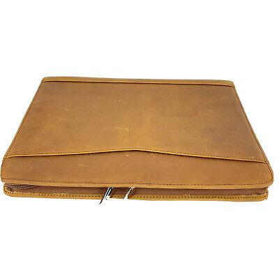 Genuine Leather Professional Business Portfolio Folder W Zipper Notepadpocket
