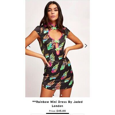 Jaded London Neon Flame Print Oriental Mini Dress Size 8