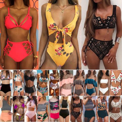 Damen Bikini Set Badeanzug Hohe Taille Push Up Bademode Schwimmanzug Bandage DE