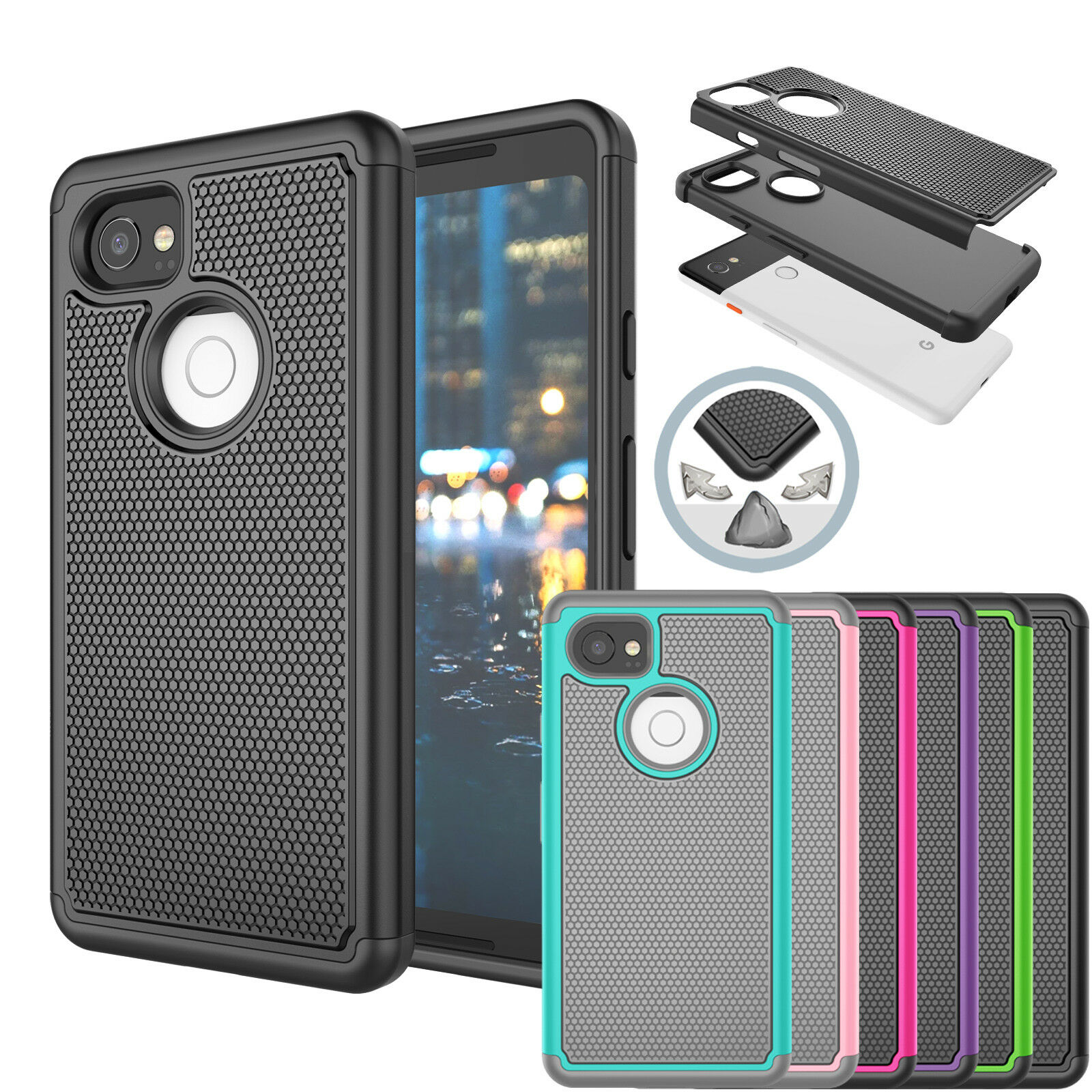 Купить saveupmore 2 in 1 Combo & Best Protection - PC Shockproof Hybrid Slim Rugged Rubber Hard Case Cover For Google Pixel 2 XL