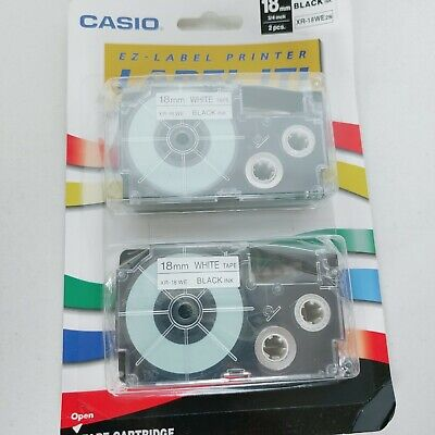 Casio Label It Xr-18we2s Blackwhite 34 Tape 2 Pack For Ez Label Printers New