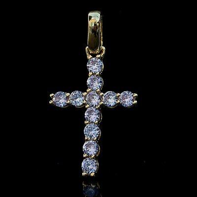 14k Gold Plated Purple Cz Religious Small Cross Pendant Necklace 14k Purple Cross