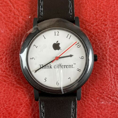 VINTAGE THINK DIFFERENT WATCH APPLE COMPUTER 1999 NEW UNUSED REVERSE MOVEMENT