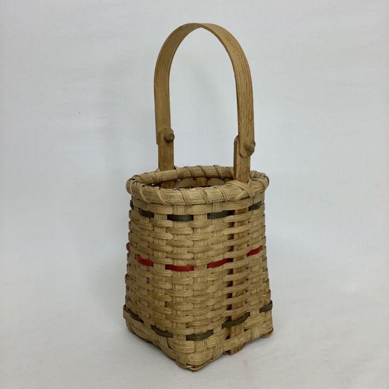 VTG Square Shape Wicker Basket Hinge Wooden Handle Rattan Floral Decor