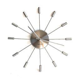 """Karlsson Wall Clock 13"""" Polished Steel Quartz Movemnt Modern Minimalist Sunburst"""
