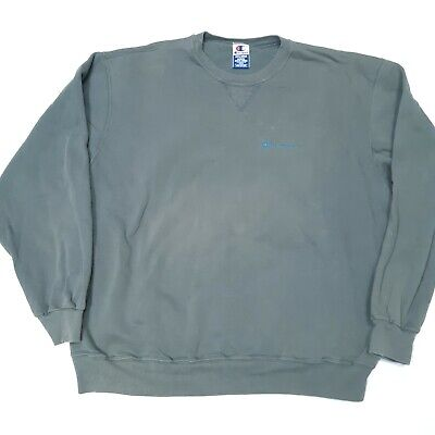 Vintage 90s Distressed Champion Embroidered Green Crewneck Sweatshirt Spellout