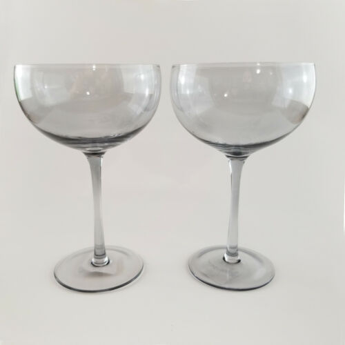 SET of 2 Pier One Tall Coupe Glasses for Champagne Smokey Gray Cocktails Barware