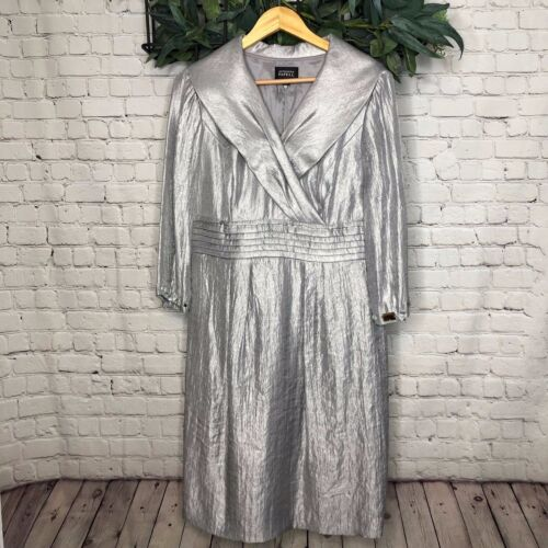Adrianna Papell Metallic Silver Mother Of Dress with 3/4 Sleeves - Size 14