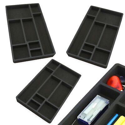 3 Desk Drawer Organizers Insert Black Home Or Office 8 Slot 19.9 X 12.1 New