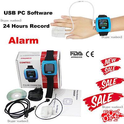 Contec Cms50f Wrist Pulse Oximeter Oled Usb Pc Software Alarm 24h Recordhot