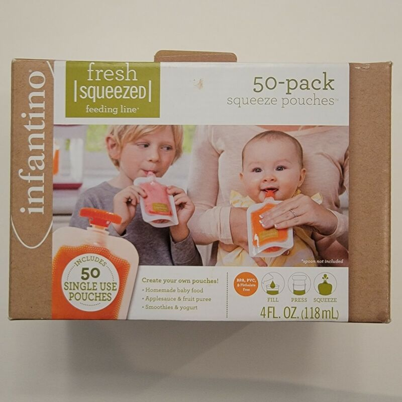Infantino Squeeze Pouches 50 Count Fresh Baby Feeding Puree 4fl oz