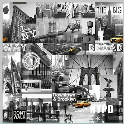 Muriva Big Apple New York City America Wallpaper Black White Grey Yellow 102514