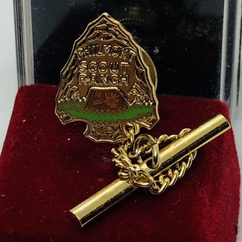 Vtg Philmont Scout Ranch BSA Boy Scouts Gold Tone Tie Tac Lapel Pin