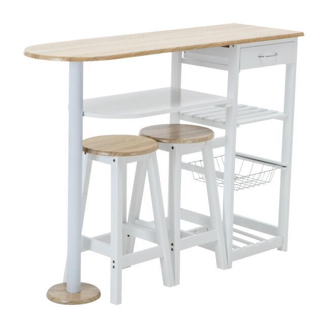 Kitchen Island Cart Trolley Dining Table Storage 2 Bar Stools Drawer Oak White