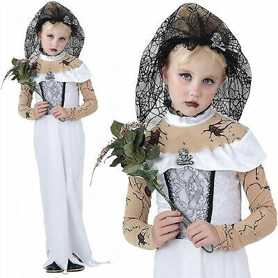 Corpse Bride Costume Child (Girls Ghost Zombie Corpse Bride Fancy Dress Up Halloween  Kids)
