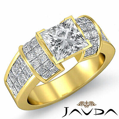 4 Prong Invisible Setting Princess Cut Diamond Engagement Ring GIA I VS2 2.96Ct 5
