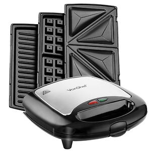 VonShef 3 in 1 Non-Stick Sandwich Maker Toaster Waffle Iron Press & Grill 700W