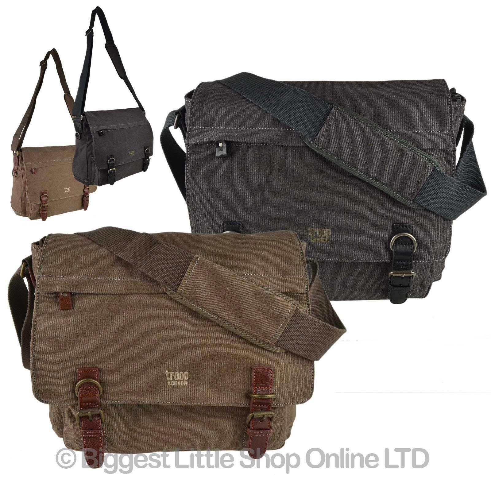 af6b4df95 Details about NEW Mens Ladies Large CANVAS LEATHER Messenger Cross Body BAG  by Troop London