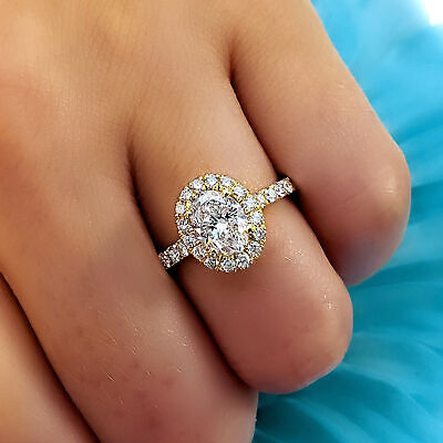 Natural 1.70 Ct Oval Cut Halo U-Setting Pave Diamond Engagement Ring H SI1 14k