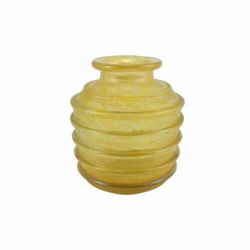 French Art Deco Yellow Mottled Glass Vase with Ribbing by Daum