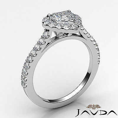 Halo U Cut Prong Set Heart Shape Diamond Engagement Ring GIA Certified F VS2 1Ct 1
