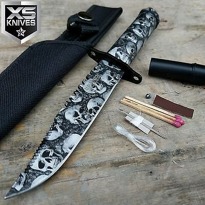 "8"" Skull Print Tactical Zombie Hunting Fixed Blade Survival Knife W/Survival Kit"