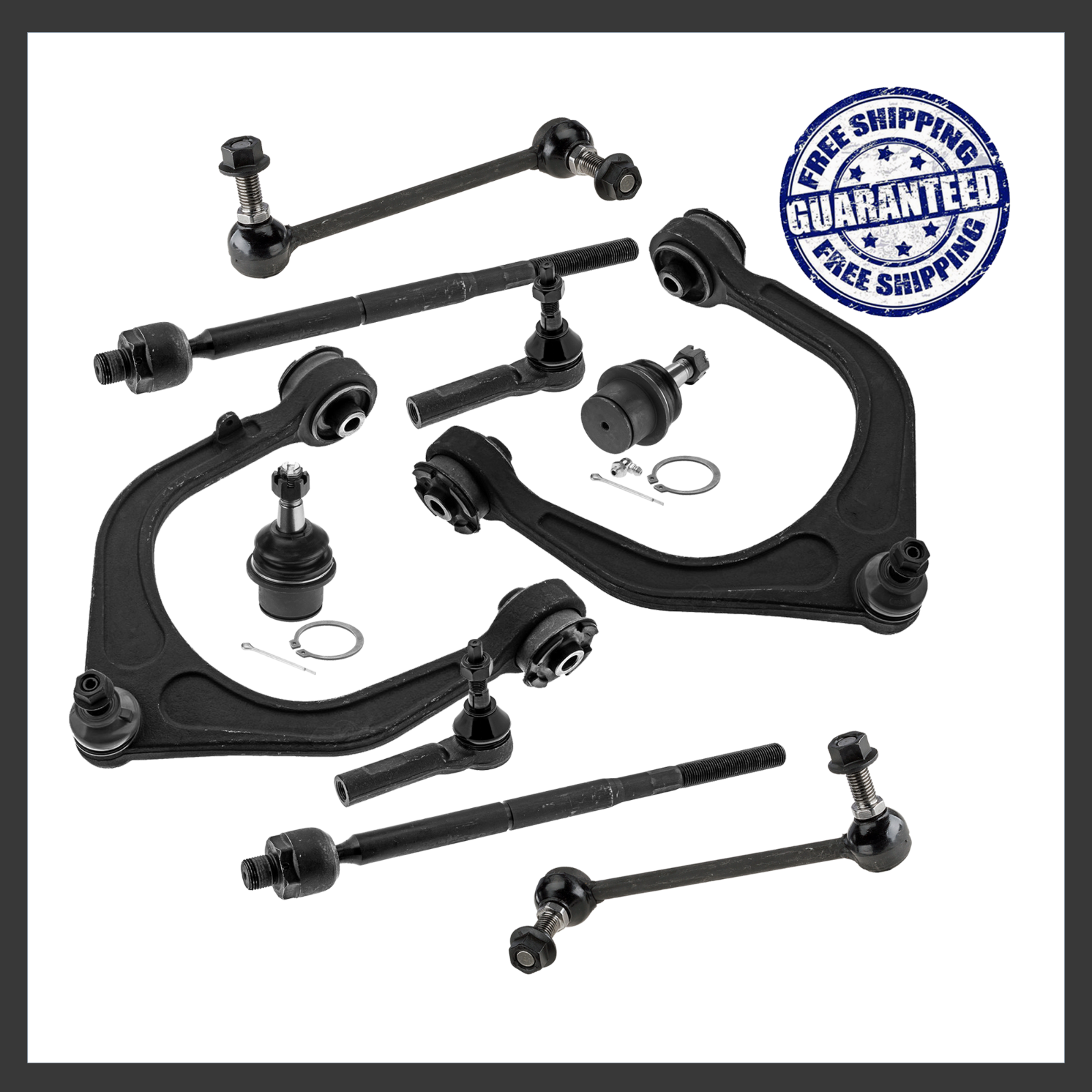 4 Both Brand New Complete 6-Piece Front Suspension Kit for Dodge Dakota /& Durango RWD//2WD- 10-Year Warranty- All 2 Front Stablizer Sway bar end link Front Upper /& Lower Ball Joints Detroit Axle