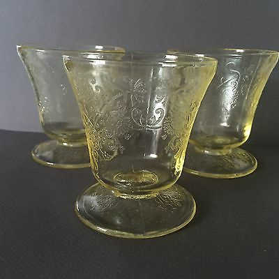 3 Vtg 30s Hazel Atlas Florentine Poppy Yellow Sherbet depression glass