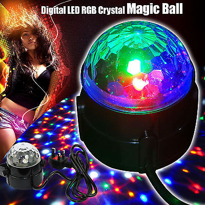 Sound Activated Stage Light LED Crystal Magic Ball Disco DJ Lamp New Year Decor