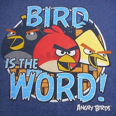 Retro  Angry Birds Bird is the Word Graphic T Shirt Tee Size M Blue Heather