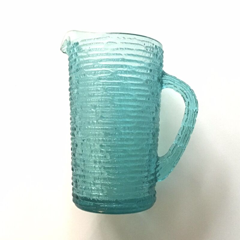 Vintage Anchor Hocking Soreno Aqua Teal 7 Inch Glass Water Juice Pitcher Small