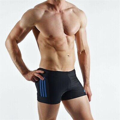 ADIDAS Herren Badehose Swimwear Infinitex Drive black blue stripes Boxer Gr. M