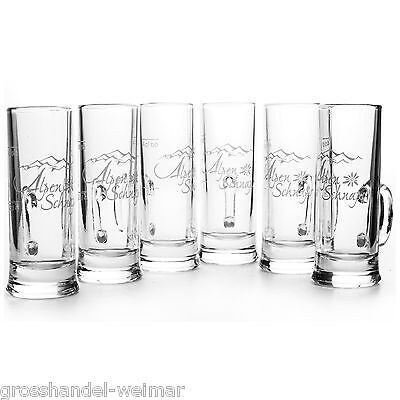 Alpenschnaps Stamper Glas Gläser 2 und 4 cl mit Henkel 6 Stück Schnapsglas