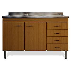 Sottolavello mobile teak da cucina completo di lavello in acciaio e gocciolatoio ebay - Mobile lavello cucina acciaio ...