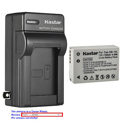 Kastar Battery AC Wall Charger for Canon NB-10L CB-2LC & Canon PowerShot G16