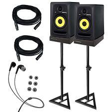 KRK RP5G3 ROKIT 5 G3 5 Studio Monitor Speaker Pair + Stands + Cables + Pads