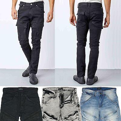 Front Cargo (KAYDEN.K Men's Front Cargo Pocket Distressed Premium Slim Jeans pants)